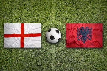 England vs. Albania flags on soccer field