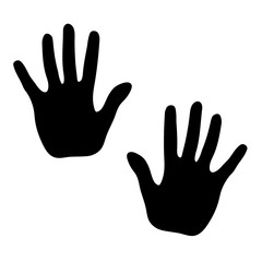Hands print on white background, vector illustration