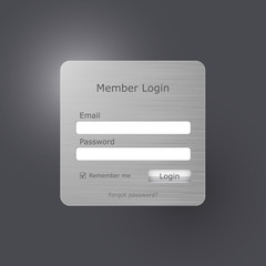 Vector login form brushed metal