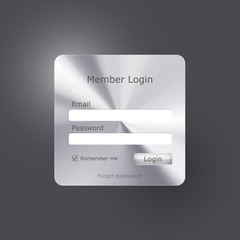Vector login form polished metal