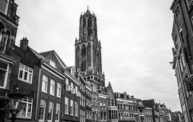Ancient European church. Utrecht - Holland. Black-white photo.