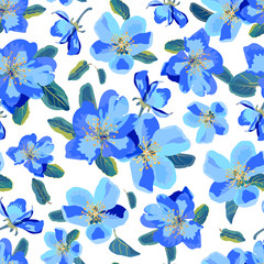 Seamless floral  background. Isolated blue flowers and leaves on white background.
