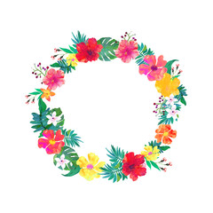 Vector floral frame. Colorful tropical floral collection with flowers and leaves.