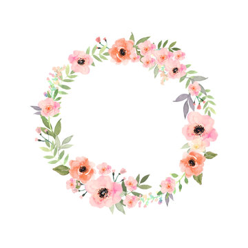 Vector watercolor flowers frame. Elegant floral collection with isolated flowers and leaves in circle frame.