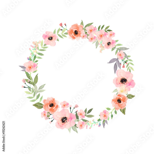 Vector Watercolor Flowers Frame Elegant Floral Collection With Isolated And Leaves In Circle