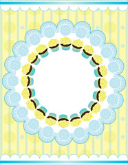 Cupcakes blue and yellow plate Place for text