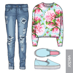 Lady fashion set of spring, winter season outfit. Illustration stylish and trendy clothing.