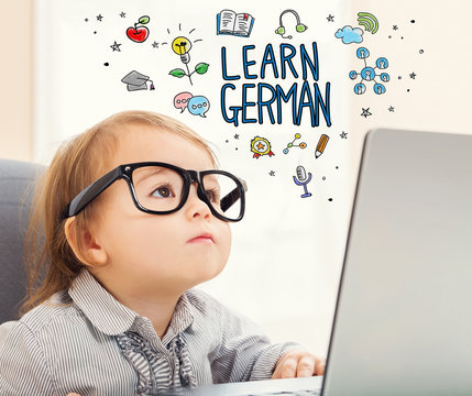 Learn German concept with toddler girl