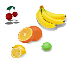 fruit set - cherry, banana, orange, lemon, lime. On a white background vector illustration.