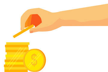 illustration for man  invest his money (golden dollar coin)