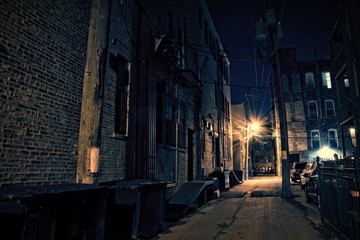 Acrylic Prints Narrow alley Dark City Alley