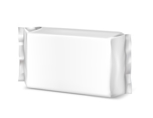 Blank flow pack isolated on white background. Vector illustration. Pack can be used in the adv, promo, packadge, etc.
