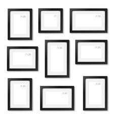 Set of empty picture frames on white wall. Can be use for presentation your picture. Template for place of picture.