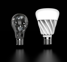 Incandescent light bulb and LED light bulb isolated on black background. 3D rendering image.