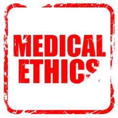 medical ethics, red rubber stamp with grunge edges