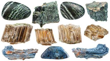 set of various Asbestos mineral stones isolated