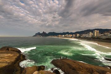 Arpoador Beach Rocks and Dramatic Sky Above Rio de Janeiro