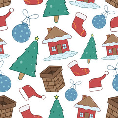 Seamless Pattern Of Christmas Icons Or Elements With Color And White Background
