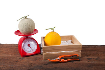 melon in wooden box ,melon on weighing scale, Scissors, isolate white backgorund