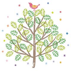緑の木と小鳥のイラスト