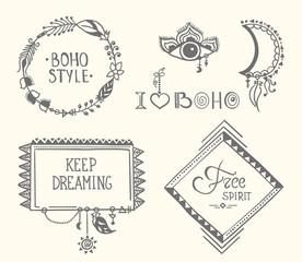 boho hand drawn frames with feathers set eps8