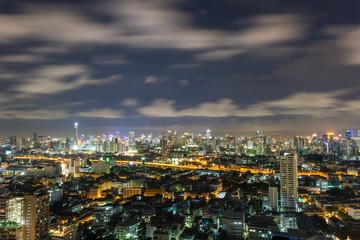 Big city of Modern and tall buildings with expressway at Bangkok