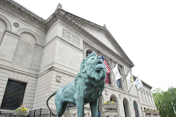 Green Lion Statue at Art Museum