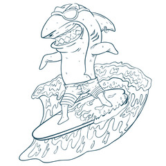 Sketchy Style Funny Surfing Shark With Glasses On Surfboard And Wave