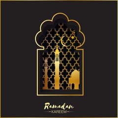 Black and Gold Origami Mosque Window for Ramadan Kareem Greeting card.