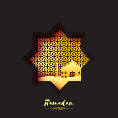 Black Gold Origami Mosque Star Window Ramadan Kareem Greeting card  with arabic arabesque pattern. Holy month of muslim. Symbol of Islam.  Applique Vector illustration.