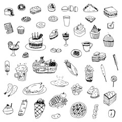 food and drink sketch drawing vector,drawing food and drink illustration
