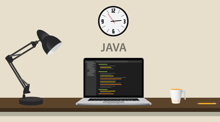 learn learning java programming with laptop and code on the computer vector graphic illustration