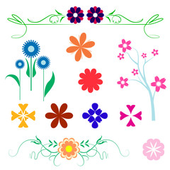 flower vector designs on white isolated