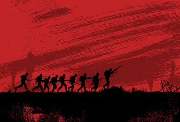 Silhouette of soldiers fighting at war
