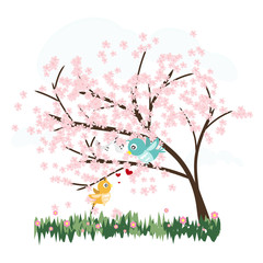 colorful cute sakura trees with love birds vector