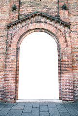 Arched entrance of a medieval church suitable as a frame.