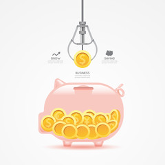 Infographic business claw game with coin template design. money