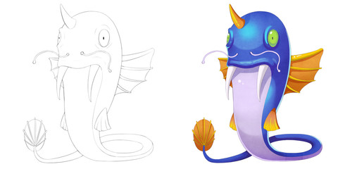 Coloring Book and Monster Creature Character Design Set 13: Cat Fish Monster with Wings isolated on White Background. Realistic Fantastic Cartoon Style Character Design, Story, Card, Sticker Design