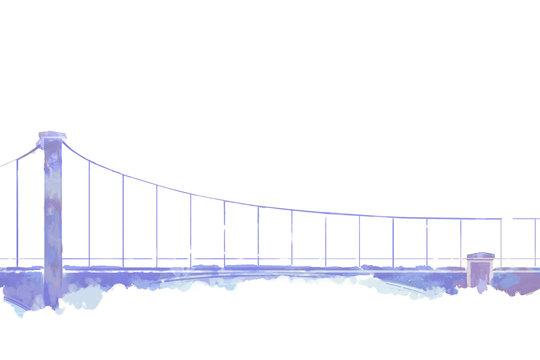Watercolor Style Digital Artwork: The Bridge. Realistic Fantastic Cartoon Style Character, Background, Wallpaper, Story, Card Design