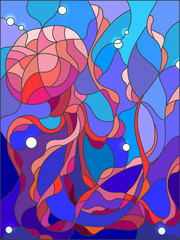 Illustration in stained glass style with abstract jellyfish against a blue sea and bubbles