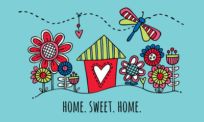 Home Sweet Home Hand Drawn Vector Illustration on Aqua Background