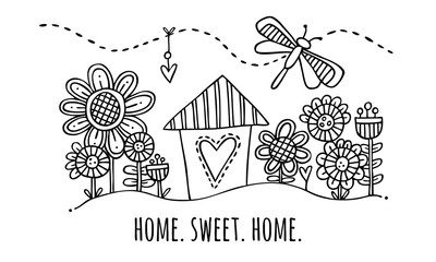 Home Sweet Home Hand Drawn Vector Illustration Black and White