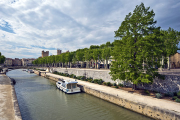 View at Robine Canal via historical center of Narbonne City