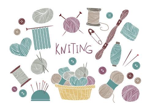 Hand drawn vector vintage illustration - Set of knitting and cra