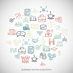 Multicolor doodles Hand Drawn Business Icons set on White. EPS10 vector illustration.