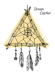 Hand drawn illustration - Dream catcher in triangle form. Tribal