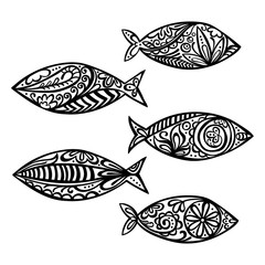 Fish. Paisley. Isolated vector object on white background. Black and white pattern.