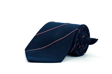 Dark blue necktie on white background
