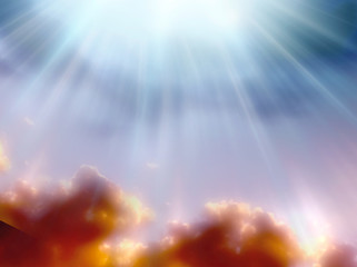 Wall Mural - a magic mystical background with divine rays of Light