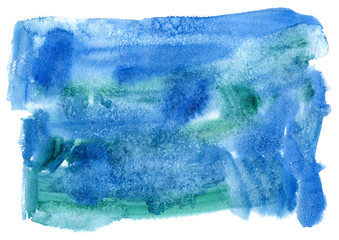 Blue blot.Watercolor background.Abstract texture watercolor hand drawn illustration.Blue splash.